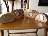 Hand made wooden surround with watch type battery Clocks ( Metal Chrome & Brass coloured )