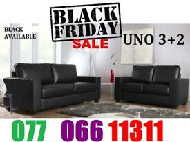 3+2 Italian leather Black Friday sofa Set black or brown