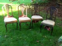 Set of 4 Edwardian Dining chairs ..one is af