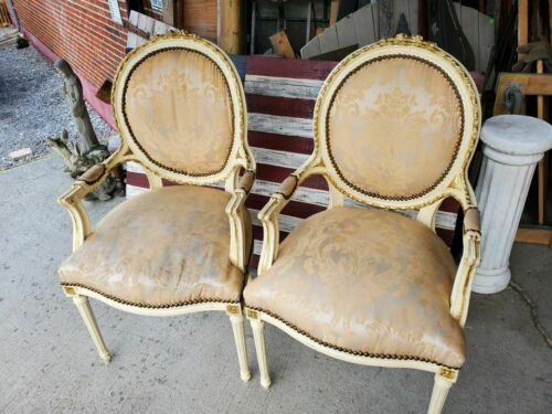 2 ANTIQUE FRENCH PROVINCIAL ARM CHAIRS – CARVED DETAILS AND BEAUTIFUL FABRIC – W