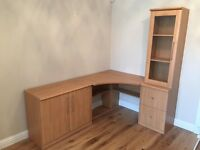 Home Office/Study Furniture - Desk, filing cabinet, cupboard and glass fronted shelves.