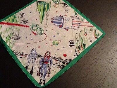 Vintage Hankie, New, Children's Hankie, Space
