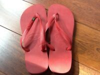 Red Havaianas Flip Flops with Brazil Logo Flag
