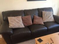 Lovely Real Brown Leather 3 & 2 seat leather sofas,mint condition