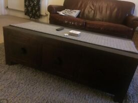 Brown leather 3 seater sofa plus two armchairs, TV unit and coffee table set, IKEA storage shelves