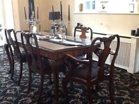 Queen Ann table and six chairs, walnut beautiful condition