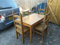 pine dining table and 4 pine chairs - free delivery