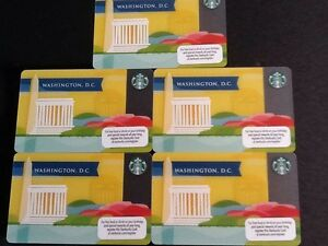 New 2013 Washington DC Starbucks City Gift Card - HTF - Never Swiped - Set Of 5!