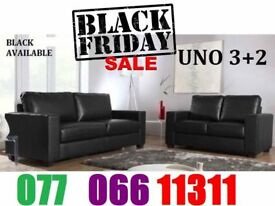 ITALIAN LEATHER SOFA SET 3+2 AS IN PIC black or brown New