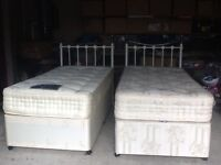 2 single beds, mattresses, headboards
