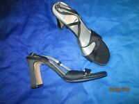 BLACK SILK MATERIAL SANDALS SIZE4 BY SAXON NEW GREAT FOR A PARTY OR NIGHT OUT