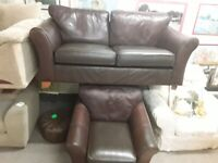 Brown leather 3 & 1 suite Copley Mill Low Cost Moves 2nd Hand Furniture STALYBRIDGE SK15 3DN