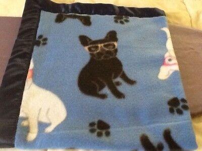 Handmade fleece pet blanket/throw, French Bulldogs in glasses