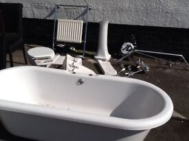 Freestanding Bath and shower with free toilet and sink
