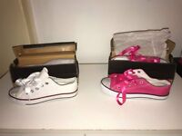 4 X NEW CONVERSE STYLE SHOES GIRLS UK SIZE 2 (EU 35) (£6 EACH OR ALL 4 FOR £20 )
