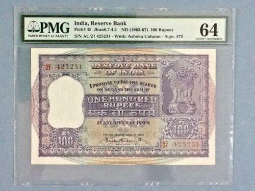 India P-45; 100 Rupees; ND(1962-67); PMG Graded 64 - Minor Rust/ Staple Holes