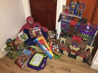 CARBOOT JOBLOT OF KIDS TOYS ECT NEW / USED JUST £50 IMAGINEXT AVENGERS TURTLES