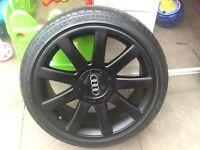 "18""multi fit alloy wheel/fits Audi,seat,gold,soda,just been refurbed"