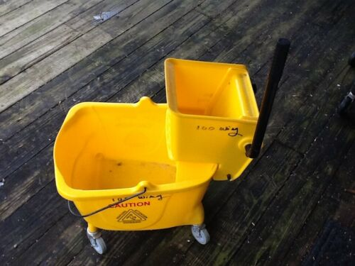 Janitorial Yellow Mop Bucket & Side Press Wringer Combo