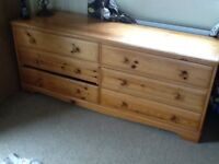 Large pine drawers. 6 wide dresser drawers holds lots of capacity.