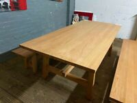 Harvey's Solid wood dinning room table With 3 seater branches ex display Free delivery