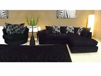 BRAND NEW LINA FABRIC CHENILLE CORNER SOFA + CUDDLE CHAIR + FREE DELIVERY