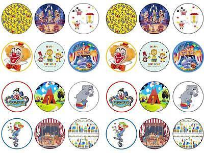 24 circus clown party bun fairy cupcake toppers birthdays party edible paper
