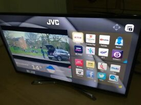 "JVC 49"" smart 4k Ultra WiFi freeview with a line on screen"