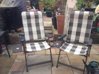2 Garden Chairs With Attached Tables