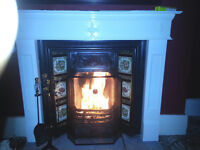 Genuine Victorian cast iron fireplace with tiled insert £150