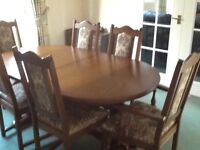 Old Charm Collection Extending Dining Table, 6 Chairs & Dresser