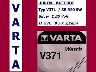 371 , V371 , SR920SW  UHREN BATTERIE KNOPFZELLE 1,55V. VARTA