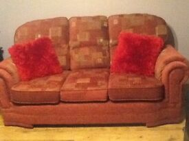 3 seater sofa and 2 chairs excellent condition as only a year old