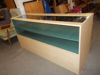 BEECH AND GLASS SHOP DISPLAY COUNTER