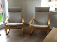 Two IKEA Poang chairs as new