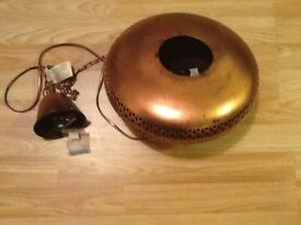 Copper spaceship style ceiling light