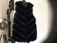New navy faux fur long waist coat very on trend unwanted gift can also be worn over jacket or coat