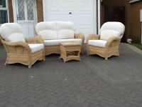 Conservatory furiniture (cane with plain cream cushions)
