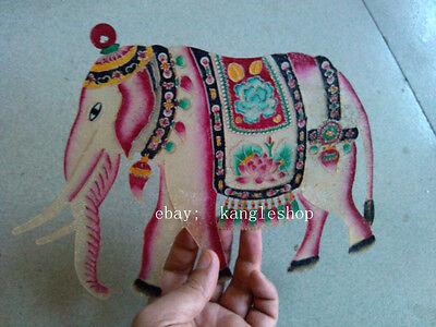 old handwork china shanxi folk art carved Elephant cowhide shadow puppet