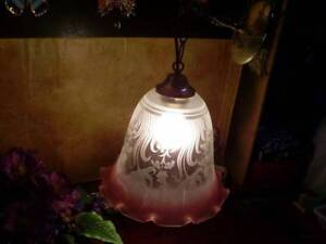 #9- Vintage large pink etching glass hanging ceiling light