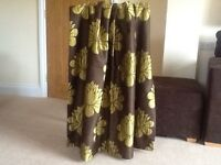 Mocha/Lime Fully Lined Pencil Pleat Curtains
