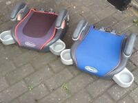 Graco car booster seats with fold-in cup holders-several designs,all washed and cleaned £10each