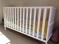 Mothercare white Cot Bed and Mattress