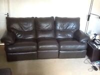 BROWN LEATHER 3 SEATER RECLINER SOFA - MUST GO ASAP FREE DELIVERY SOME AREAS - £155
