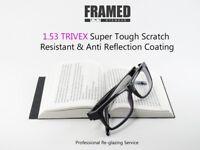 Glasses In-House Reglazing Service 1.53 Trivex Single Vision Anti Glare Scratch Resistant