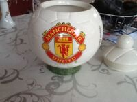 Manchester United china biscuit barrel collectable