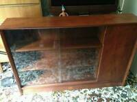 Solid wood bookcase / glass unit