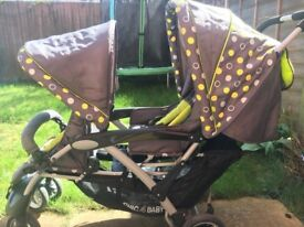 Double Pushchair with Carrycot