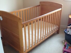 Obaby Grace Cot Bed In Country Pine with Mattress