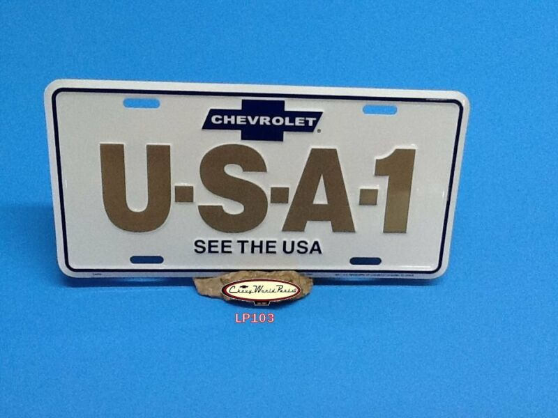 CHEVROLET USA-1 ALUMINUM LICENSE PLATE EMBOSSED TAG SEE THE USA